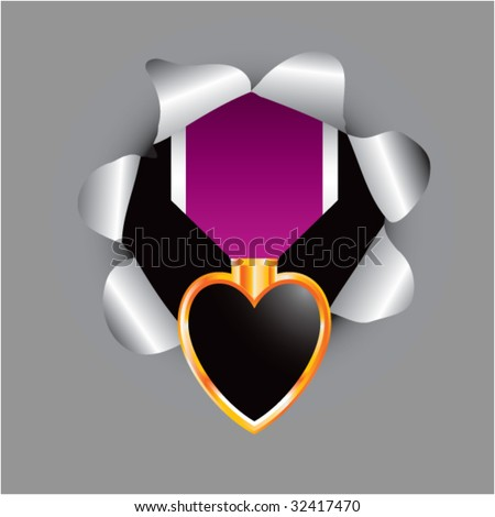 purple heart medal coming out of paper hole - stock vector