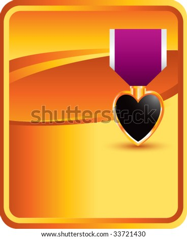 purple heart medal on classic clean background - stock vector