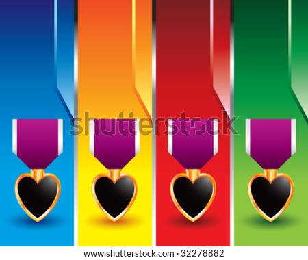 purple heart medal on colored banners - stock vector