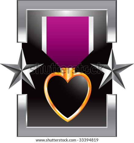 purple heart medal on star background - stock vector