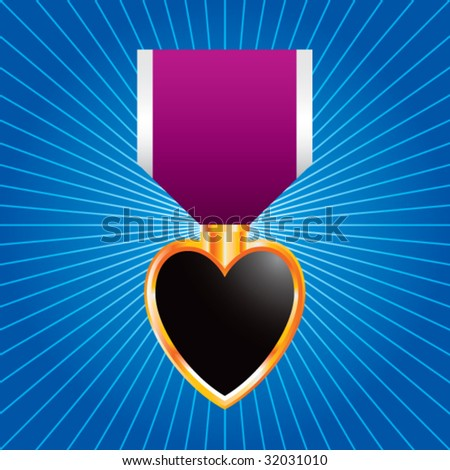 purple heart medal on starburst - stock vector