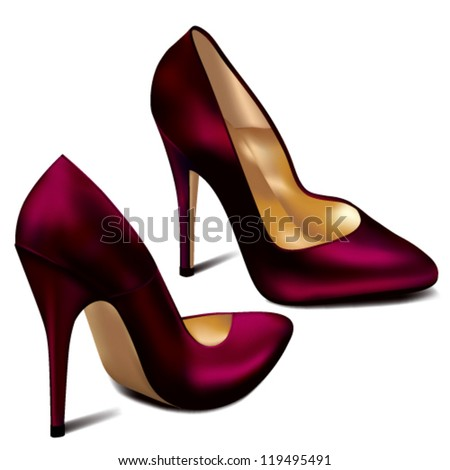 Purple High Heels - stock vector