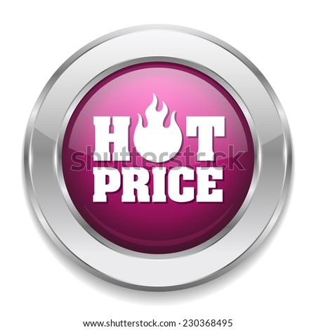 Purple hot price button with metallic border on white background