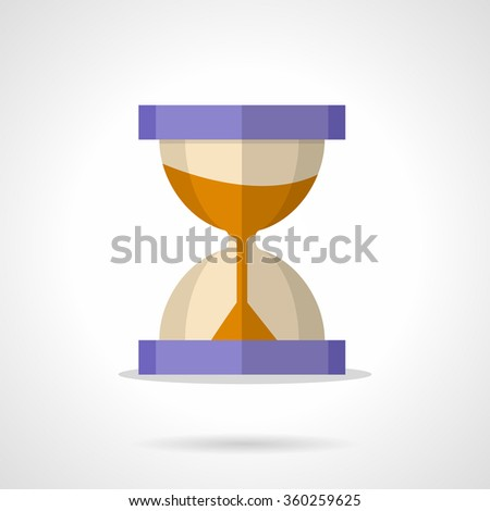 Purple hourglass with sand. Time flow concept, deadline. Business time management. Flat color style vector icon. Element for web design, business, mobile app. - stock vector