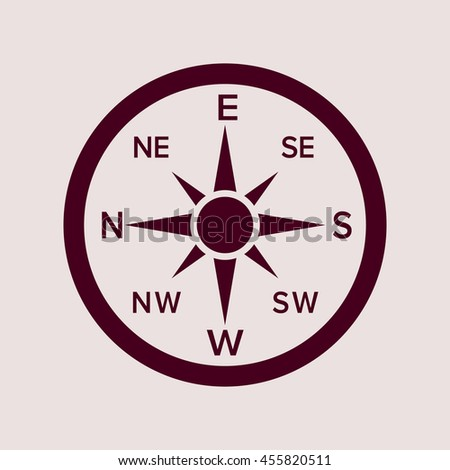 Purple Icon of Direction Compass. Eps-10.