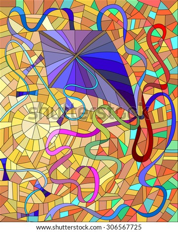 Purple kite with colorful ribbons in the sun and orange sky in the stained glass style - stock vector
