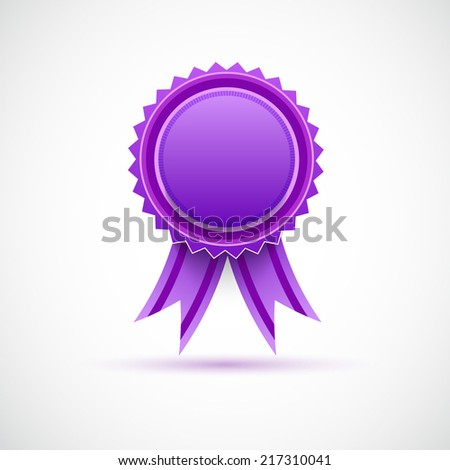 Purple label with ribbons. - stock vector