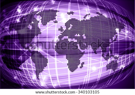 purple Light Abstract Technology background for computer graphic website internet and business. circuit. vector illustration. infographics. motion move blur.neon. pixel. World Map, Global - stock vector