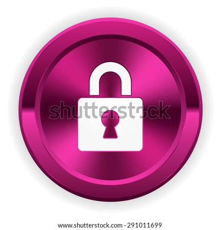 Purple login button with icon on white background - stock vector