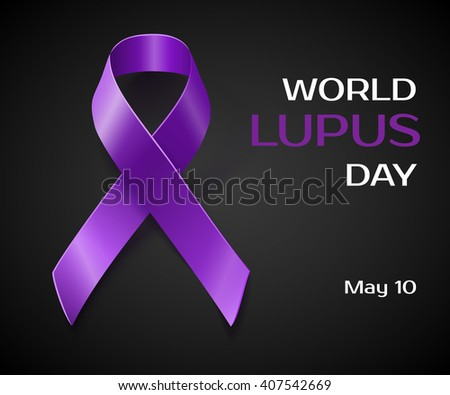 Purple Lupus awareness ribbon over a black background. World lupus day background - stock vector