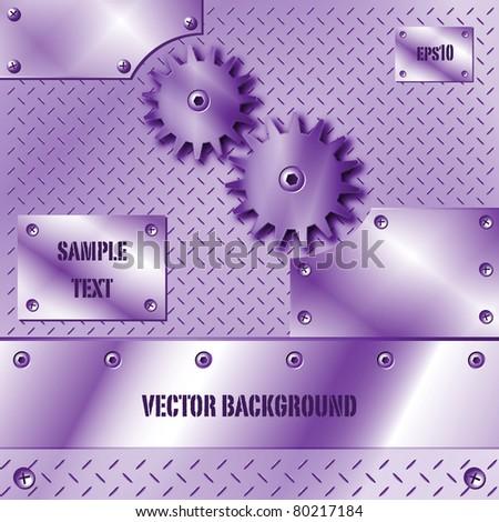 Purple metal plate and gears vector - stock vector