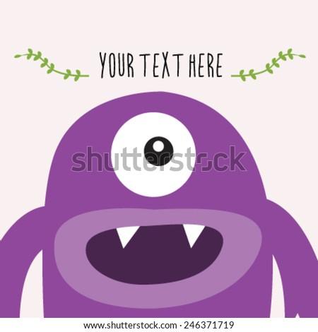 Purple monster greetting card - stock vector