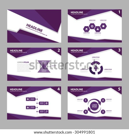 Purple multipurpose presentation brochure flyer template flat design set  - stock vector