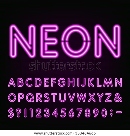 Purple Neon Light Alphabet Font. Neon effect letters, numbers and symbols on the dark background. Vector typeface for labels, titles, posters etc. - stock vector