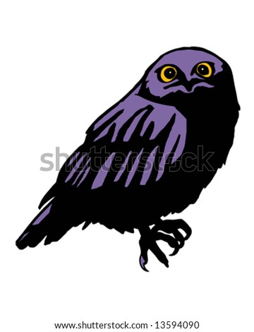 purple owl with yellow eyes at night