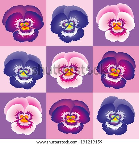 Purple pansy wallpaper - seamless background can be created. - stock vector