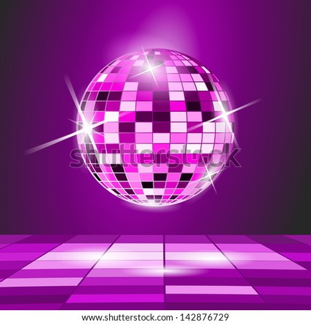 Purple Party background, disco ball - stock vector