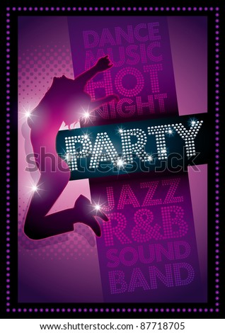 Purple Party poster Template. Well organized layers in vector file. CMYK colors. Print ready. - stock vector