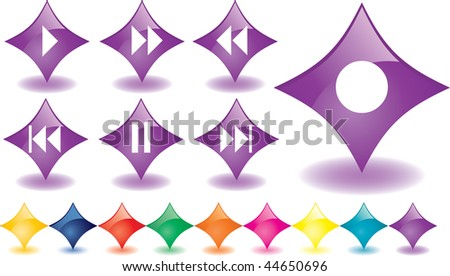 Purple rhombuses as music buttons, vector - stock vector