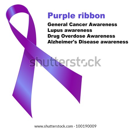 Purple ribbon. General Cancer Awareness. Lupus awareness. Drug Overdose Awareness. Alzheimer's Disease awareness. - stock vector