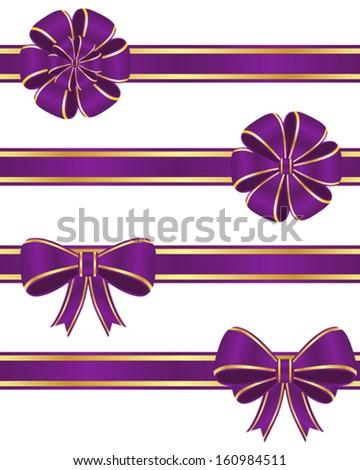 Purple ribbons - stock vector