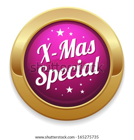 Purple round christmas special button with gold border