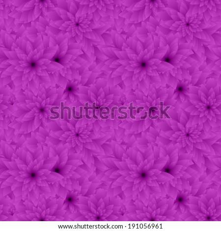 Purple seamless flower pattern background - vector version - stock vector