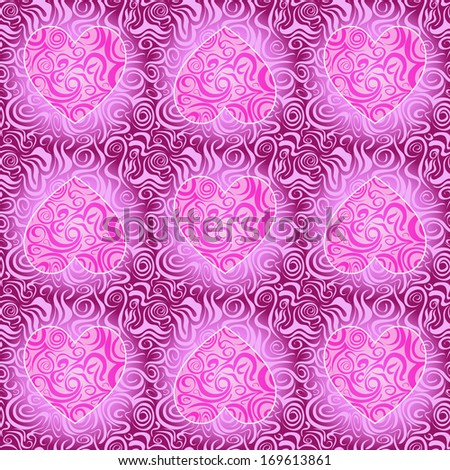 Purple  Seamless Love Abstract Pattern with Heart Swirl Silhouette. Vector