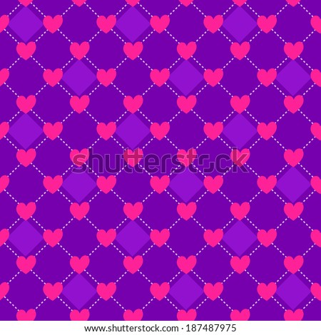 Purple Seamless Polka Dot Pink Pattern with Hearts - stock vector