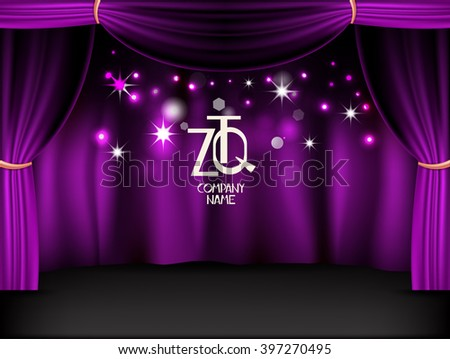 Purple shiny stage. Vector background - stock vector