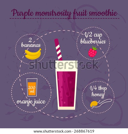 Purple smoothie recipe. Menu element for cafe or restaurant with energetic fresh drink. Fresh juice for healthy life. - stock vector