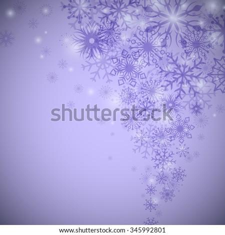 Purple snowflake flow Christmas vector background. - stock vector