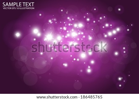 Purple space vector background  flare - Vector shiny purple sparks background illustration - stock vector