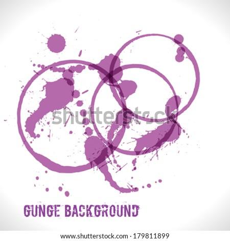 Purple Splattered Background - stock vector
