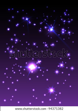 Purple starry sky, vector illustration, eps10, 2 layer