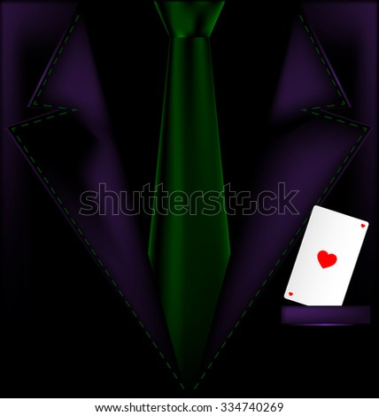 purple suit and ace of hearts - stock vector