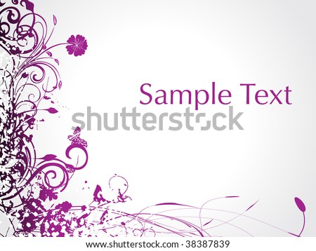 purple swirl with butterfly, sample text illustration - stock vector