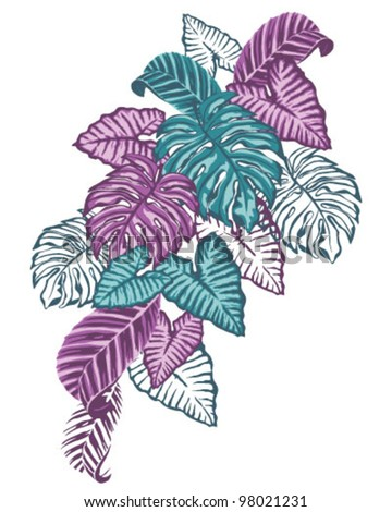 Purple Tropical Leaves - stock vector