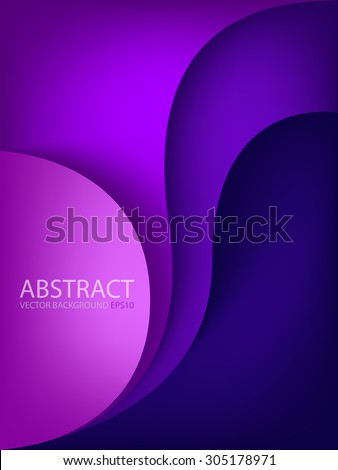 Purple vector background with circle and curve line element overlap layer paper for text and message artwork design - stock vector