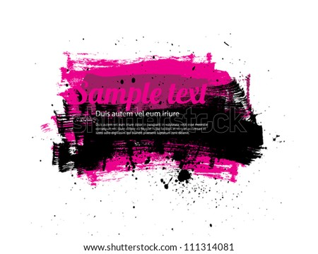 Purple vector painted grungy banner / badge / background