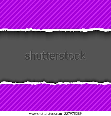 Purple violet textured torn paper strips. Vector EPS10 illustration. Design elements - colored paper with ripped edges - stock vector