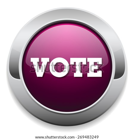 Purple vote button with metal border on white background - stock vector