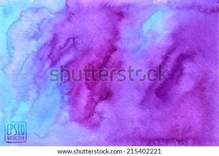 Purple watercolor painted vector background - stock vector