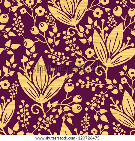 Purple wooden flowers seamless pattern background border - stock vector