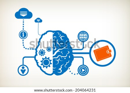 Purse and abstract human brain, the concept of the information movement