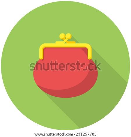 Purse icon (flat design with long shadows) - stock vector