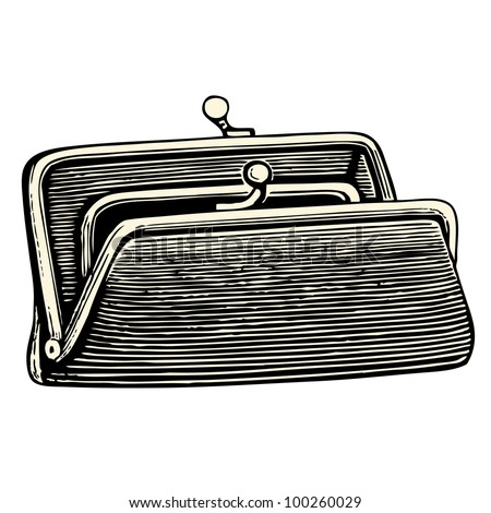 Purse - vintage engraved illustration - Catalog of a French department store - Paris 1909 - stock vector