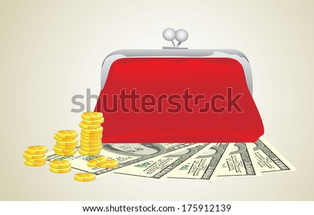 Purse with money  - stock vector