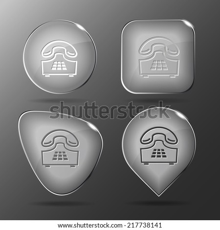 Push-button telephone. Glass buttons. Vector illustration. - stock vector