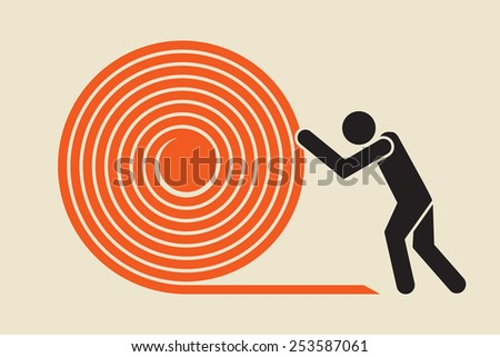 push hard to get it rolling  - stock vector